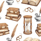 Watercolor vintage books, glasses, sand hourglass and ink pen