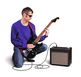 Man with guitar and amp isolated on white