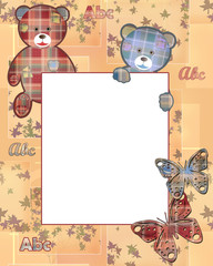Cute kids frame with bears and leaves on beige