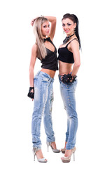 two sexy girls in jeans