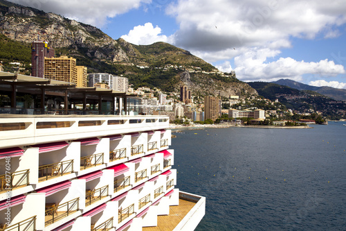 Monaco coastline with beaches and luxury hotels