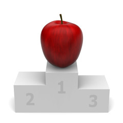 3D model of apple winner on a podium without competitors