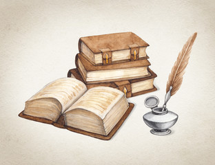 Watercolor vintage books  illustration