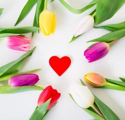 Herz und Blumen Tulpen Karte Aufsteller