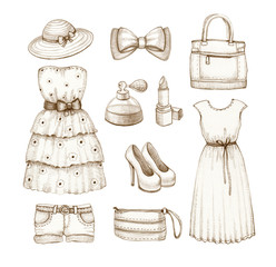Collection of dresses and accessories drawings
