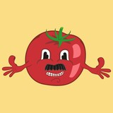 vector red tomato with a mustache and a smile