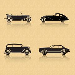 vintage car on a brown background