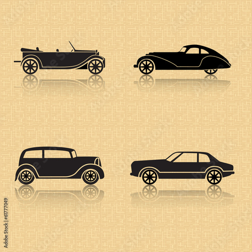 vintage car on a brown background