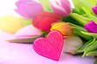 Tulpenstrauss Licht und Herz Karte