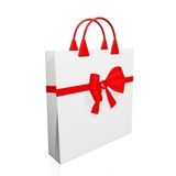 3D Festive Shopping Bag with Red Bow Ribbon