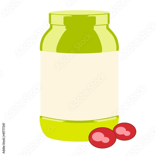 large green jar with pills