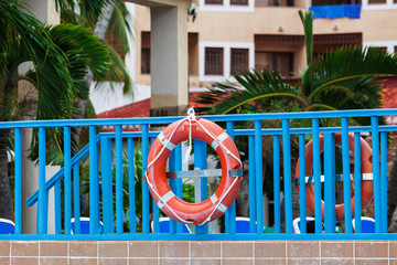 lifebuoy on a bridge