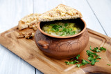 Onion soup in a rustic style