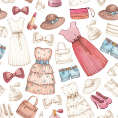 Dresses and accessories pencil drawings. Seamless pattern