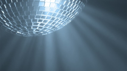 Disco ball with reflected moving rays