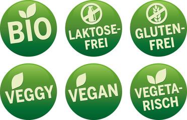 Symbol Bio, Vegan, Glutenfrei, vegetarisch, Laktosefrei vektor