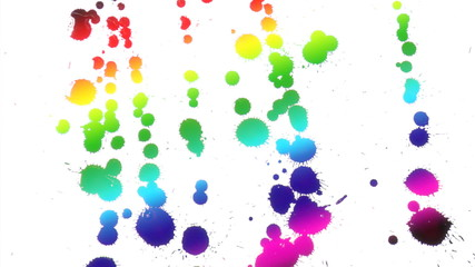 multicolored rainbow drops on white. HD 1080i