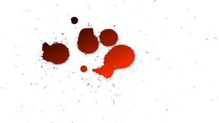 dripping red drops of blood isolated on white background