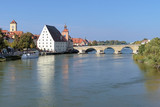 Stone Bridge over Danube in Regensburg, Germany