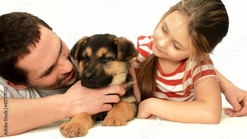 little cute girl stroking puppy Shepherd