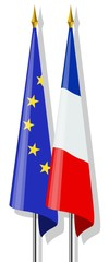 Drapeaux : Europe et France ensemble