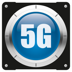 5G - modern glossy blue icon or button