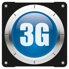 3G - modern glossy blue icon or button