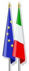 Bandiere:  Europa ed Italia insieme