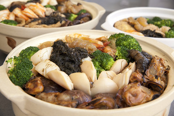 Poon Choi Cantonese Big Feast Bowls Closeup