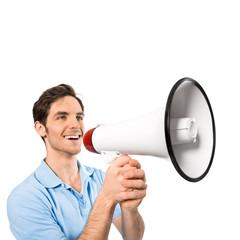 Mann mit Megaphon