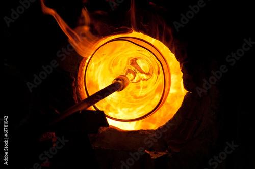 Leinwanddruck Bild Glass blowing process