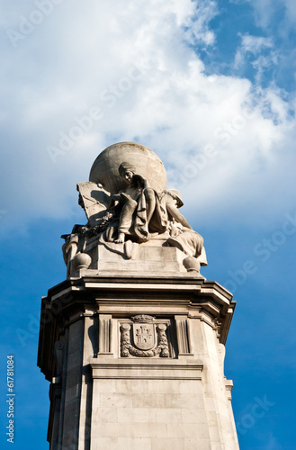 Detail of Cervantes Monument at Plaza Espana - Madrid