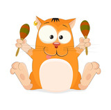 Nice vector cartoon cat with a maracas