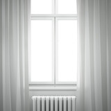window frame with curtain