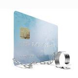 Credit card with shackles