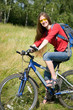 womam cyclist  traveling