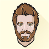 Flat design man's portrait
