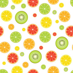 Orange Lime Lemon Grapefruit Kiwifruit seamless pattern
