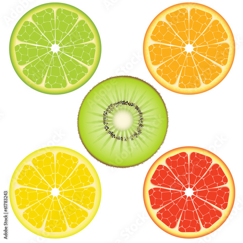 Orange Lime Lemon Grapefruit Kiwifruit isolated on white