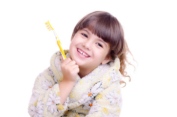Happy smiling girl with tooth brush