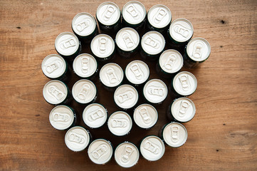 drink cans. Top view