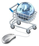 Globe computer mouse shopping cart