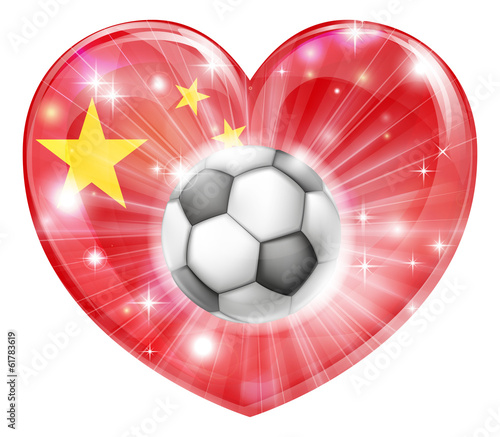 China soccer heart flag