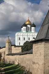 View of the Pskov Kremlin  Russia city of Pskov