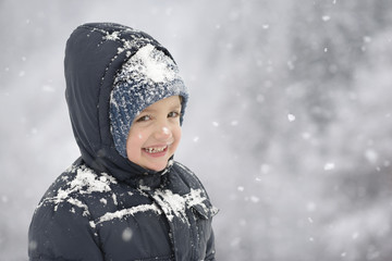 Happy Child in Wintertime