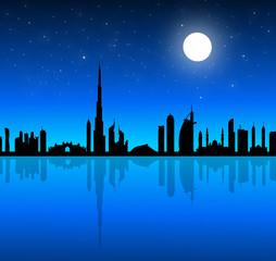 Dubai Skyline at Night-Vector