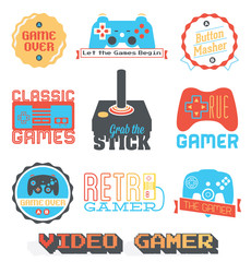 Vector Stock: Retro Video Game Shop Labels
