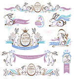 Set of easter decorative emblems with rabbits