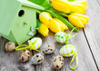 quail eggs with tulips and birdhouse, on wooden background