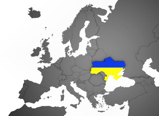 3D Europakarte grau / weiß- Ukraine Flagge